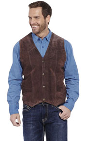 Cripple Creek Cow Suede Western Vest - Chocolate - Men's Leather Western Vests and Jackets | Spur Western Wear