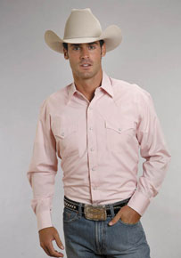 Stetson End On End Long Sleeve Western Shirt - Pink - Men's Western Shirts | Spur Western Wear