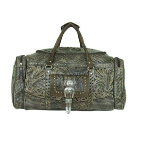 American West Retro Romance Leather Western Rodeo Bag - Charcoal Brown - Western Luggage | Spur Western Wear