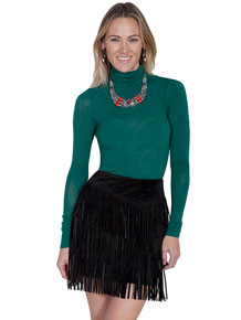 Scully Boar Suede Leather Skirt - Black - Ladies' Western Skirts And Dresses | Spur Western Wear