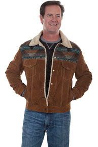 Scully Faux Shearling Leather Western Jean Jacket - Cafe Brown - Men's Leather Western Vests and Jackets | Spur Western Wear