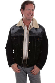 Scully Faux Shearling Leather Western Jean Jacket - Black - Men's Leather Western Vests and Jackets | Spur Western Wear