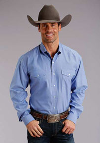 Stetson Oxford Long Sleeve Button Front Western Shirt - Blue - Men's Western Shirts | Spur Western Wear