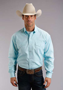 Stetson Oxford Long Sleeve Button Front Western Shirt - Aqua - Men's Western Shirts | Spur Western Wear