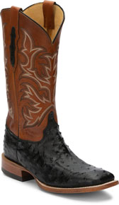 Justin Pascoe Full Quill Ostrich Western Boot - Black & Suntan - Men's Western Boots | Spur Western Wear