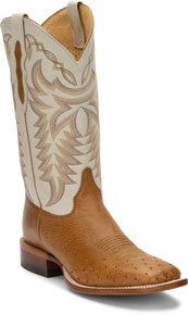 Justin Pascoe Smooth Ostrich Western Boot - Antique Saddle & Ivory - Men's Western Boots | Spur Western Wear