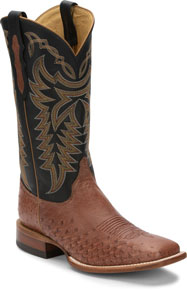Justin Pascoe Smooth Ostrich Western Boot - Rum Brown & Black - Men's Western Boots | Spur Western Wear