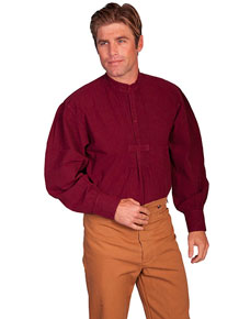 Scully Pleated Front Pullover Old West Shirt – Burgundy - Men's Old West Shirts | Spur Western Wear