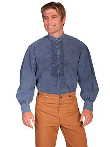 Scully Pleated Front Pullover Old West Shirt – Dark Blue - Men's Old West Shirts | Spur Western Wear