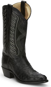 Tony Lama McCandles Full Quill Ostrich Western Boot - Black - Men's Western Boots | Spur Western Wear