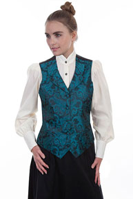 Scully Scroll And Swirls Paisley Vest - Teal - Ladies Vests And Jackets | Spur Western Wear