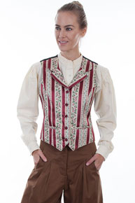 Scully Wallpaper Striped Vest - Burgundy - Ladies Vests And Jackets | Spur Western Wear