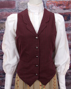 "Frontier Classics ""Kate"" Striped Vest - Burgundy - Ladies' Old West Vests and Jackets 