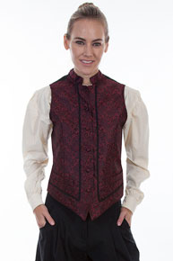 Scully Paisley Vest - Red - Ladies Vests And Jackets | Spur Western Wear