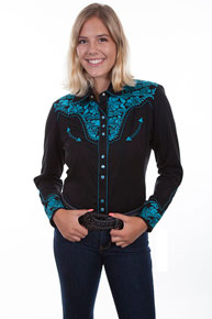 Scully Gunfighter Long Sleeve Snap Front Western Shirt - Turquoise - Ladies' Retro Western Shirts | Spur Western Wear