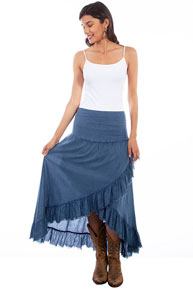 Scully Cantina Hi/Lo Tiered Skirt - Dark Blue - Ladies' Western Skirts And Dresses | Spur Western Wear