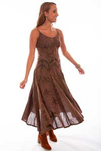 Scully Honey Creek Spaghetti Strap Dress - Copper - Ladies' Western Skirts And Dresses | Spur Western Wear