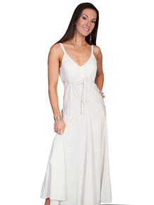 Scully Honey Creek Spaghetti Strap Dress - Ivory - Ladies' Western Skirts And Dresses | Spur Western Wear