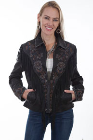 Scully Fringe Trimmed Suede Leather Western Jacket - Black - Ladies Leather Jackets | Spur Western Wear