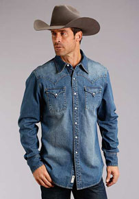 Stetson Long Sleeve Denim Western Shirt With Embroidery - Blue - Men's Western Shirts | Spur Western Wear