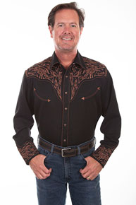 Scully Bucking Bull And Longhorn Embroidered Western Shirt - Black - Men's Retro Western Shirts | Spur Western Wear