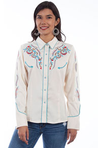 Scully Feather And Floral Embroidered Western Shirt - Cream - Ladies' Retro Western Shirts | Spur Western Wear