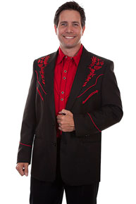 Scully Embroidered Sport Coat - Black with Crimson - Men's Western Suit Coats, Suit Pants, Sport Coats, Blazers | Spur Western Wear