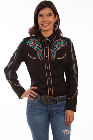 Scully Feather And Floral Embroidered Western Shirt - Black - Ladies' Retro Western Shirts | Spur Western Wear