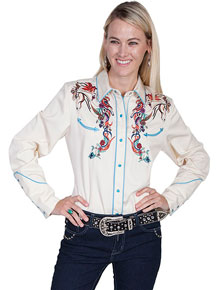 Scully Horse And Flower Embroidered Western Shirt - Cream - Ladies' Retro Western Shirts | Spur Western Wear