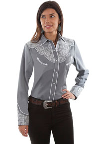 Scully Lace Embroidered Western Shirt - Grey - Ladies' Retro Western Shirts | Spur Western Wear