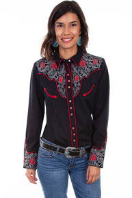 Scully Roses And Pick Stitch Embroidered Western Shirt - Black - Ladies' Retro Western Shirts | Spur Western Wear
