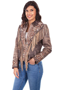 Scully Fringe Trimmed Suede Leather Western Jacket - Brown - Ladies Leather Jackets | Spur Western Wear
