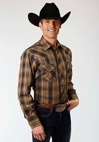 Roper Plaid Long Sleeve Snap Front Western Shirt - Brown & Black - Men's Western Shirts | Spur Western Wear