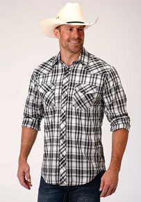 Roper Plaid Long Sleeve Snap Front Western Shirt - Black & White - Men's Western Shirts | Spur Western Wear