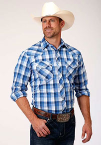 Roper Plaid Long Sleeve Snap Front Western Shirt - Multi Blue - Men's Western Shirts | Spur Western Wear