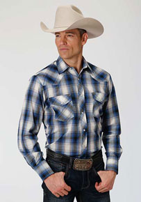 Roper Plaid Long Sleeve Snap Front Western Shirt - Blue, Black & Cream - Men's Western Shirts | Spur Western Wear