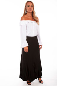 Scully Honey Creek Ruffled Gord Skirt - Black - Ladies' Western Skirts And Dresses | Spur Western Wear
