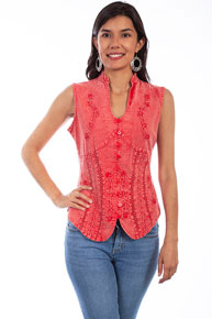 Scully Sleeveless Blouse - Brick - Ladies' Western Shirts | Spur Western Wear