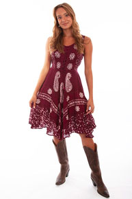 Scully Honey Creek Embroidered Dress - Wine - Ladies' Western Skirts And Dresses | Spur Western Wear