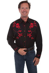 Scully Skulls And Roses Embroidered Western Shirt - Red - Men's Retro Western Shirts | Spur Western Wear