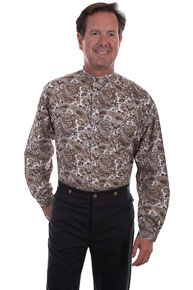 Scully Paisley Banded Collar Shirt - Brown - Men's Old West Shirts | Spur Western Wear