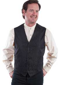 Scully Notched Lapel Paisley Vest -Burgandy - Men's Old West Vests and Jackets | Spur Western Wear