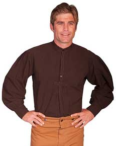 Scully Pleated Front Pullover Old West Shirt –Chocolate - Men's Old West Shirts | Spur Western Wear