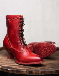 "Oak Tree Farms Elegant Lace up Red Leather ""Eleanor""  Ladies' Boots"