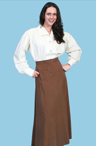 Scully Brown Twill  Gibson Girl Skirt