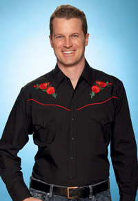 Ely Cattleman Long Sleeve Snap Front Western Shirt - Black With Red Roses - Men's Retro Western Shirts | Spur Western Wear