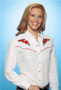 Ely Cattleman Long Sleeve Snap Front Western Shirt - White With Red Roses - Ladies' - Retro Western Shirts | Spur Western Wear