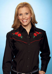 Ely Cattleman Long Sleeve Snap Front Western Shirt - Black With Red Roses - Ladies' - Retro Western Shirts | Spur Western Wear