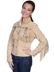 Scully Bead & Fringe Leather Western Jacket - Fawn - Ladies Leather Jackets | Spur Western Wear