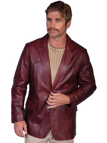 Scully Italian Leather Blazer - Black Cherry - Men's Leather Western Vests and Jackets | Spur Western Wear